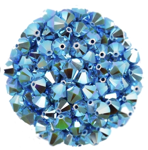 532806TURQ2AB - 6mm Swarovski Bicone Crystals - Turquoise 2AB - 25 count