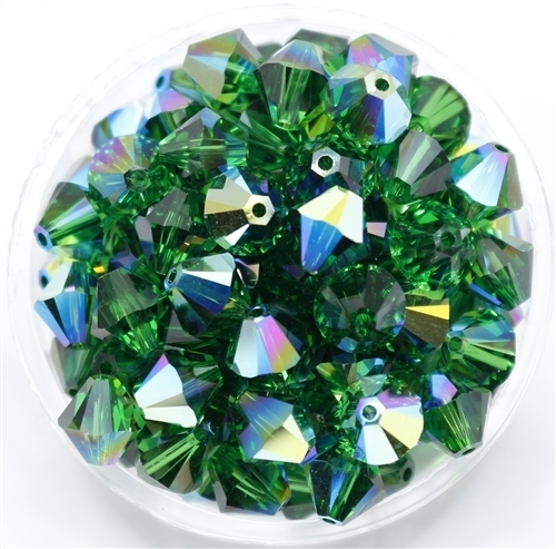 532808DRKMOSGRNAB - 8mm Swarovski Crystal Dark Moss Green AB - 1 count