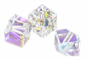 4mm Swarovski Diagonal Cube Crystal AB