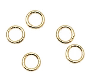 6mm Closed Jump Rings - Gold-plated brass - 5 Count