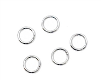 6mm Closed Jump Rings - Silver-plated brass - 5 Count