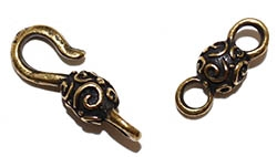 Antiqued Brass Pewter Bead Swirl Hook Clasp 28x8mm