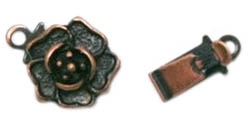 Antiqued Copper Brass Rose Clasp 9MM