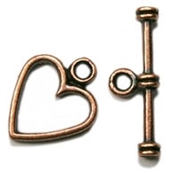 Antiqued Copper Finish Heart Toggle Clasp - 12x12mm