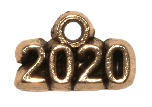 Antique Gold Plated Pewter Charm - 2020 - 1 Charm