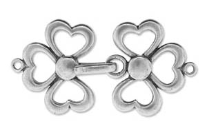 JBB Findings Clover Hook & Eye Clasp : Antique Silver