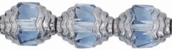 Antique Style Faceted Firepolish 10/8mm: ASFFP-3001 - Oval Silver: Light Sapphire - 1 piece