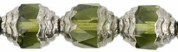 Antique Style Faceted Firepolish 10/8mm: ASFFP-5023 - Oval Silver: Olivine - 1 piece