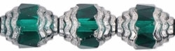Antique Style Faceted Firepolish 10/8mm: ASFFP-5073 - Oval Silver: Emerald - 1 piece