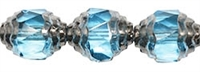 Antique Style Faceted Firepolish 10/8mm: ASFFP-6002 - Oval Silver: Aquamarine - 1 piece