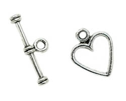 Antiqued Silver Finish Heart Toggle Clasp - 12x12mm