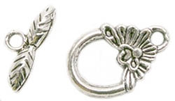 Antiqued Silver Finish Pewter Flower Toggle Clasp 15x12mm