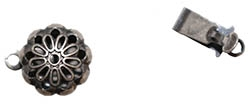 Antiqued Silver Plated Flower Clasp 9MM