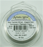 Artistic Wire Silver Non Tarnish 18ga Wire - 20 Foot Spool