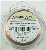 Artistic Wire Bare Copper 18ga Wire - 10 Yard Spool