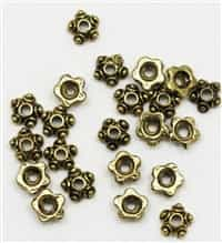 BCAG7X3 - Bead Cap, Antique Gold Finished, 7x3mm Star - 10 Pieces