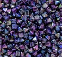 6mm Czech Glass Pyramid 2-Hole Beadstud - BST06-00030-95100 - Magic Blue - 4 Beads