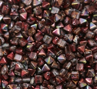 6mm Czech Glass Pyramid 2-Hole Beadstud - BST06-00030-95200 - Magic Wine - 4 Beads