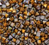 6mm Czech Glass Pyramid 2-Hole Beadstud - BST06-00030-95300 - Magic Copper - 4 Beads