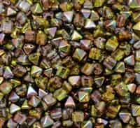 6mm Czech Glass Pyramid 2-Hole Beadstud - BST06-00030-95400 - Magic Green - 4 Beads