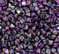 6mm Czech Glass Pyramid 2-Hole Beadstud - BST06-00030-95500 - Magic Purple - 4 Beads