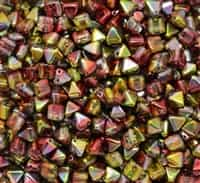 6mm Czech Glass Pyramid 2-Hole Beadstud - BST06-00030-95600 - Magic Apple - 4 Beads