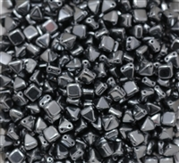 6mm Czech Glass Pyramid 2-Hole Beadstud - BST06-23980-27200 - Jet Vacuum Hematite Full - 4 Beads