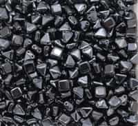 6mm Czech Glass Pyramid 2-Hole Beadstud - BST06-23980-27201 - Jet Hematite - 4 Beads