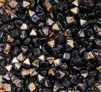 6mm Czech Glass Pyramid 2-Hole Beadstud - BST06-23980-29500 - Jet Sliperit - 4 Beads