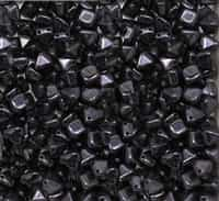 6mm Czech Glass Pyramid 2-Hole Beadstud - BST06-23980-65432 - Jet Lustered - 4 Beads
