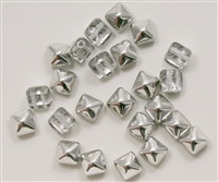 8mm Czech Glass Pyramid 2-Hole Beadstud - BST08-0030-27001 - Crystal Silver - 4 Beads