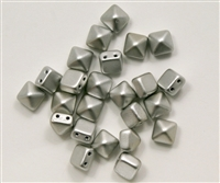 8mm Czech Glass Pyramid 2-Hole Beadstud - BST08-01700 - Matte Silver - 4 Beads