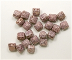 8mm Czech Glass Pyramid 2-Hole Beadstud - BST08-02010-15496 - Opaque Lumi Pink - 4 Beads