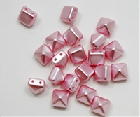 8mm Czech Glass Pyramid 2-Hole Beadstuds - BST08-PNK - Pink Airy Pearl - 4 Beads