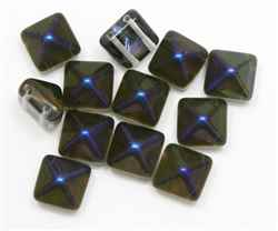 12mm Czech Glass Pyramid 2-Hole Beadstud - BST12-22201 - Crystal Azuro Capri - 1 Bead