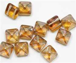 12mm Czech Glass Pyramid 2-Hole Beadstud - BST12-22501 - Celsian Capri - 1 Bead