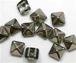 12mm Czech Glass Pyramid 2-Hole Beadstud - BST12-26441 - Crystal Aurum Capri - 1 Bead