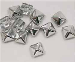 12mm Czech Glass Pyramid 2-Hole Beadstud - BST12-00030-27001 - Crystal Silver - 1 Bead