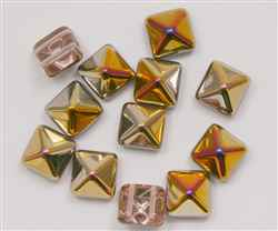 12mm Czech Glass Pyramid 2-Hole Beadstud - BST12-00030-27101 - Crystal Capri - 1 Bead