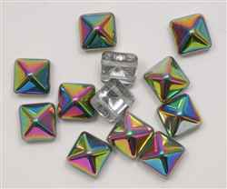12mm Czech Glass Pyramid 2-Hole Beadstud - BST12-00030-28101 - Crystal Vitrail - 1 Bead