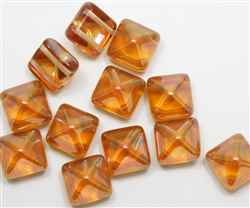 12mm Czech Glass Pyramid 2-Hole Beadstud - BST12-29121 - Apricot Capri - 1 Bead
