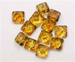 12mm Czech Glass Pyramid 2-Hole Beadstud - BST12-00030-86800 - Crystal Picasso - 1 Bead
