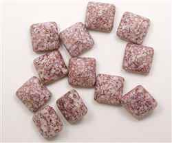 12mm Czech Glass Pyramid 2-Hole Beadstud - BST12-02010-15496 - Opaque Lumi Pink - 1 Bead