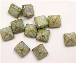 12mm Czech Glass Pyramid 2-Hole Beadstud - BST12-02010-15657 - Pistachio - 1 Bead