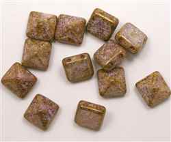 12mm Czech Glass Pyramid 2-Hole Beadstud - BST12-02010-15695 - Bronze Fusion - 1 Bead