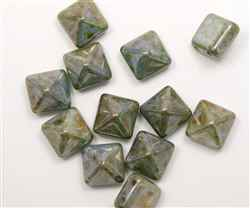 12mm Czech Glass Pyramid 2-Hole Beadstud - BST12-02010-65431 - Patina - 1 Bead