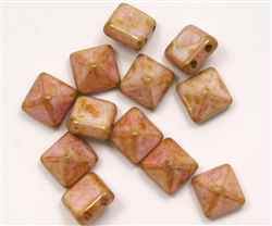 12mm Czech Glass Pyramid 2-Hole Beadstud - BST12-02010-65491 - Roman Rose - 1 Bead