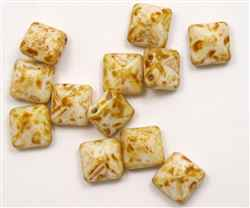 12mm Czech Glass Pyramid 2-Hole Beadstud - BST12-02010-86800 - Butter Pecan - 1 Bead