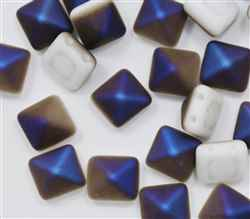 12mm Czech Glass Pyramid 2-Hole Beadstud - BST12-03000-22271 - Chalk White Azuro Matted - 1 Bead
