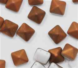 12mm Czech Glass Pyramid 2-Hole Beadstud - BST12-03000-27237 - Chalk White Sunset Matted - 1 Bead
